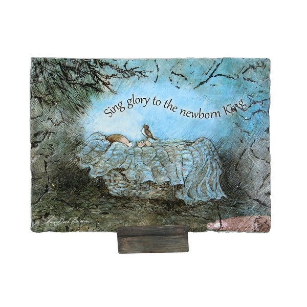 """7"""" Green and Blue Baby Jesus Religious Christmas Plaque"""