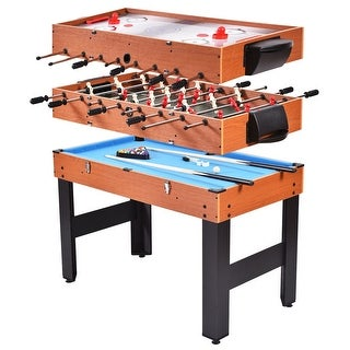 Costway 48'' 3-In-1 Multi Combo Game Table Foosball Soccer Billiards Pool Hockey For Kids