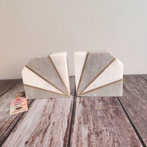 "GAURI KOHLI Rhinestone Brown Marble Bookend (Set of 2) - 5.0"" X 2.0"""