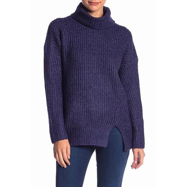 Elodie Blue Womens Size Medium M Turtleneck Knit Stretch Sweater