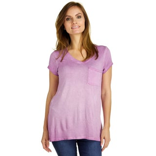 Cable & Gauge Women's V-Neck Pocket Distressed Tee (5 options available)