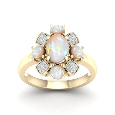 10K Yellow Gold Oval Cut Ethiopian Opal Gemstone and 1/10Ct Diamond Cocktail Ring