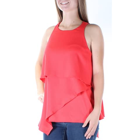 ALFANI Womens Red Sleeveless Jewel Neck Tiered Top Size 8