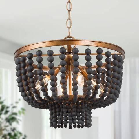 """Boho Glam 4-light Black Wood Beads Chandelier Living/ Dining Room Pendant - D 15.5"""" x H 73.5"""""""
