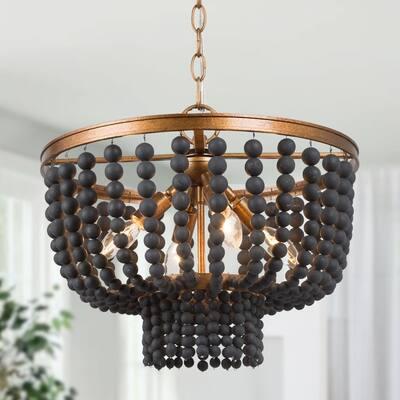 """Boho Glam 4-light Wood Beads Chandelier Living/ Dining Room Pendant - 15.5""""D x 13.3""""H"""