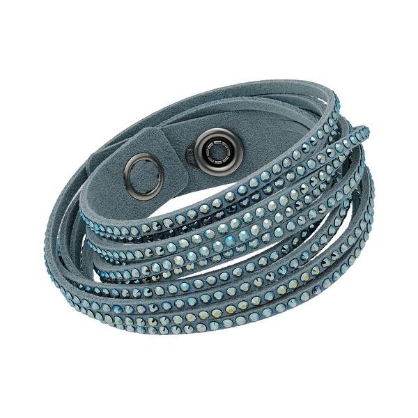 0bc060a25fa Shop Swarovski elements Slake 5046391 Light Blue Alcantara Wrap Bracelet w   Mixed Crystals - LIGHT BLUE - Free Shipping Today - Overstock - 21153971