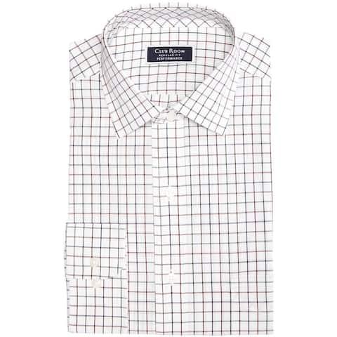 Club Room Mens Multi Tattersall Button Up Dress Shirt