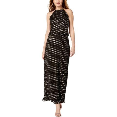 MSK Womens Maxi Dress Metallic Blouson