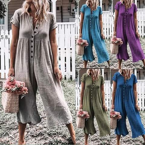Women's Solid Color Short Sleeve Wide Long Pants Jumpsuit Rompers