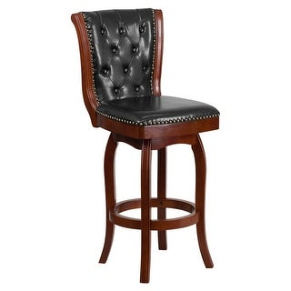 Offex 30'' High Cherry Wood Barstool with Black Leather Swivel Seat