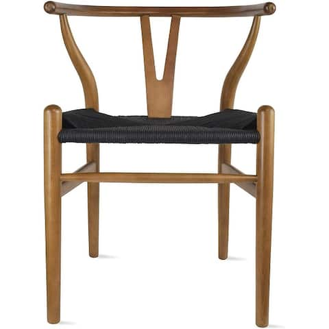 Woven Wood Armchair with Arms Open Back Mid Century Modern Office Dining Chairs Woven Black Seat