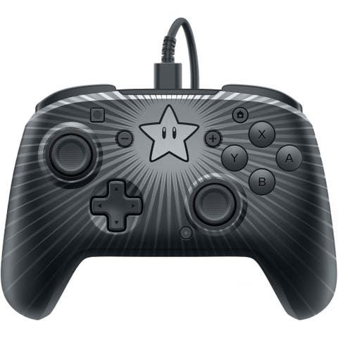 PDP Nintendo Switch Faceoff Super Mario Star Wired Pro Controller - Black - 5.4 x 6 x 2.6