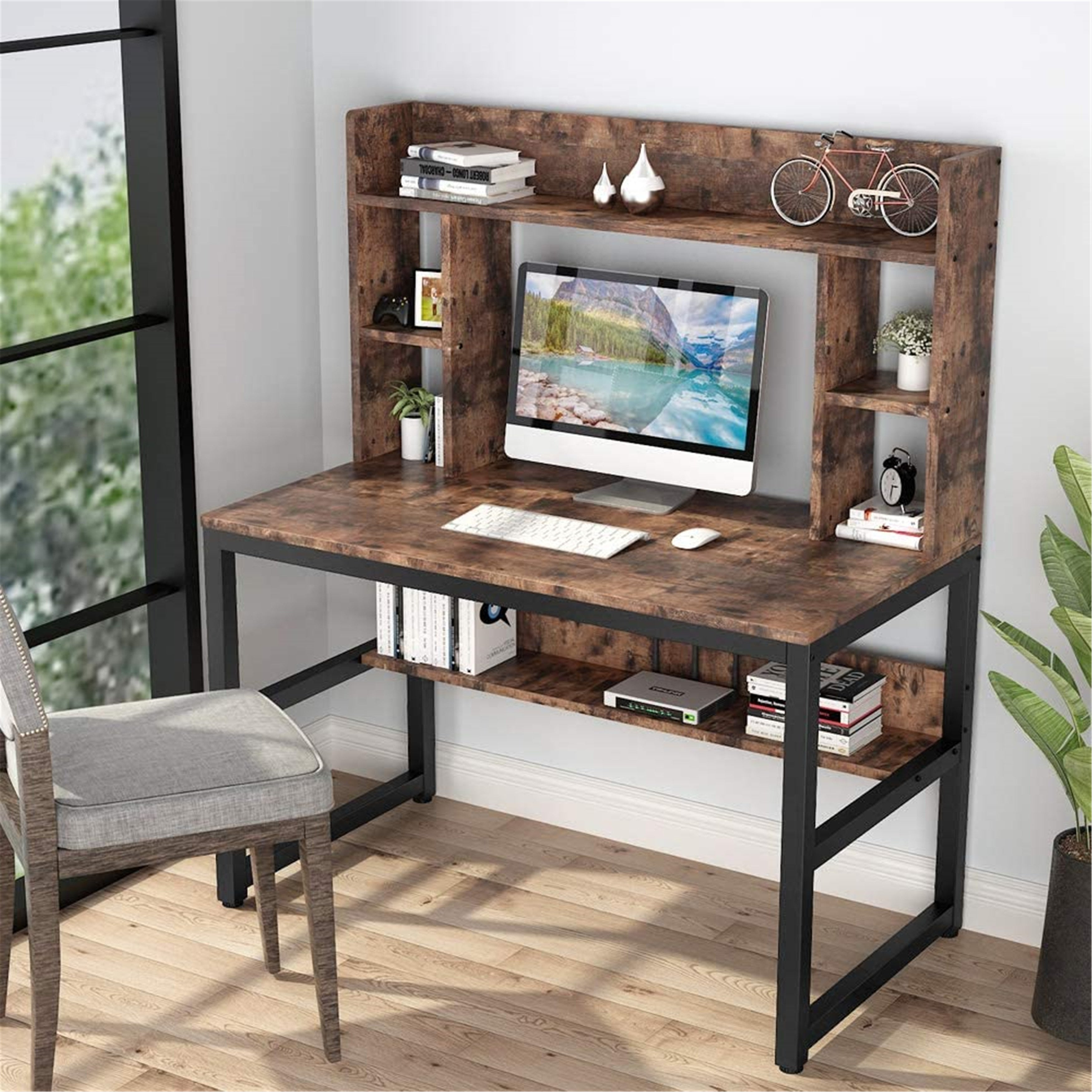 47 Inches Computer Desk With Hutch Writing Desk With Shelves On Sale Overstock 30394876 Wood Finish Metal Finish Rustic Brown