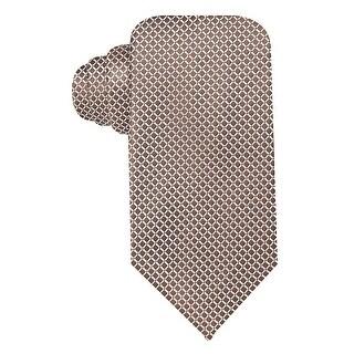 Geoffrey Beene Light Taupe Mini Grid Silk Blend Tie Classic One Size Necktie