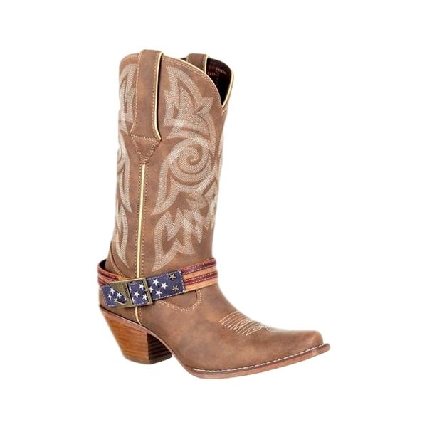 Durango Western Boots Womens Flag Strap Leather 9.5 M Brown