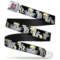 My Little Pony Logo Full Color Black Pink Derpy Poses Black Webbing Seatbelt Belt