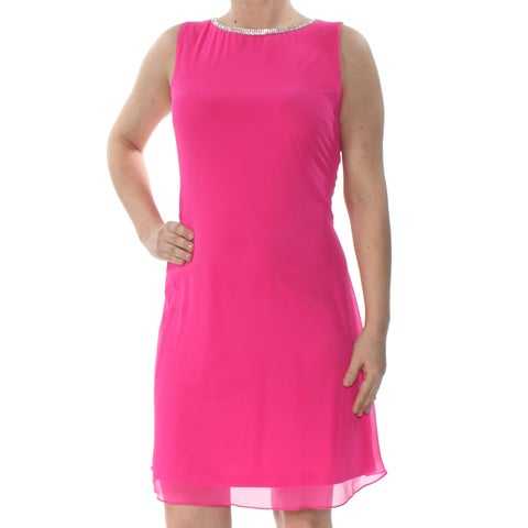 MSK Womens Pink Embellished T Back Sleeveless Jewel Neck Above The Knee Shift Party Dress Size: 6