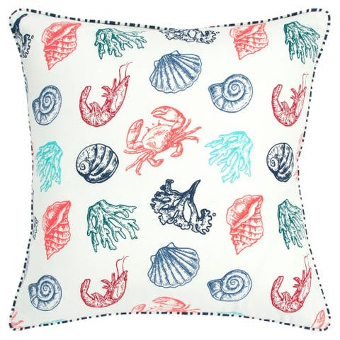 """Rizzy Home Teal Coral Navy Sea Creatures 20""""X 20"""" Throw Pillow"""