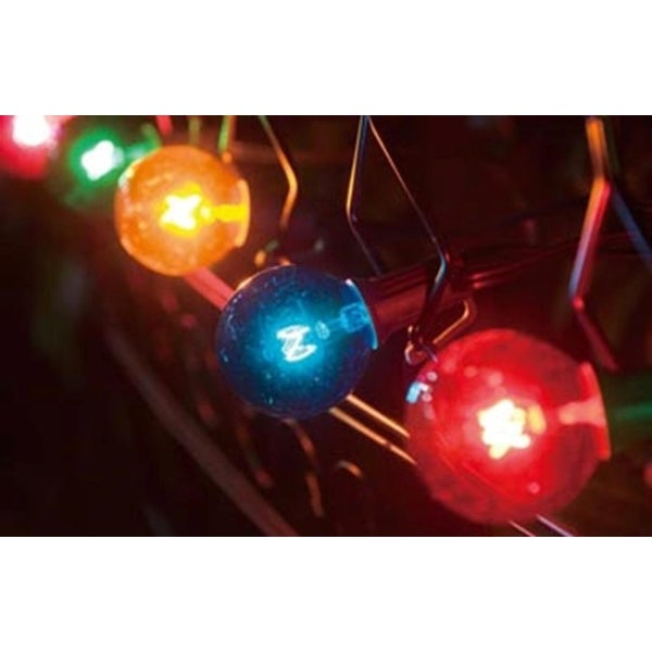Set of 10 Multi Colored G40 Globe Patio Party Christmas Lights - Green Wire - multi-colored