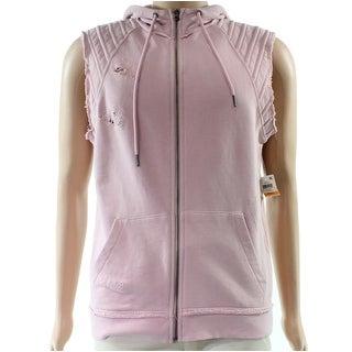 INC Pink Mens Size Medium M Hooded Full-Zip Distressed Vest Jacket