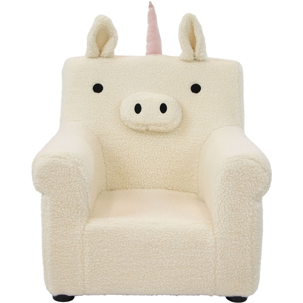 Critter Sitters 20-In. Plush White Unicorn Animal Shaped Mini Chair -Furniture for Nursery, Bedroom, Playroom, Living Room. Opens flyout.