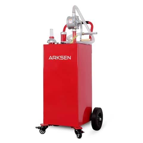 Arksen 30 Gallon Gas Caddy Tank Hand Siphon Pump Rolling Wheels, Red - standard