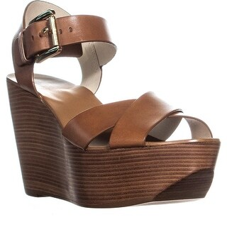 Michael Kors Peggy Wedge Ankle Strap Sandals, Luggage - 8 us