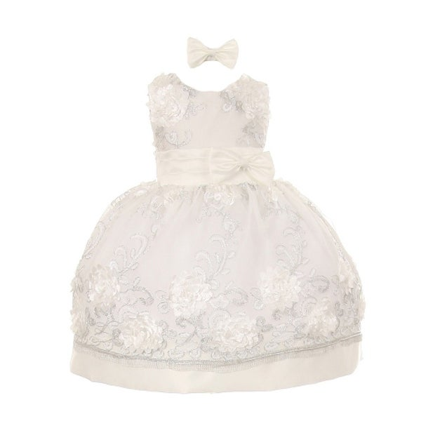 Baby Girls Ivory Floral Pattern Satin Easter Flower Girl Bubble Dress 3-24M