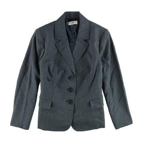 Le Suit Womens Denim Three Button Blazer Jacket, Blue, 20W