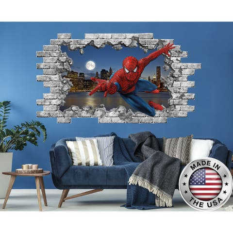 3D Spiderman Wall Sticker Superhero Hole in the Decals Boys Bedroom