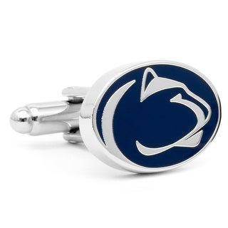 Nickel Plated Penn State University Nittany Lions Cufflinks - navy