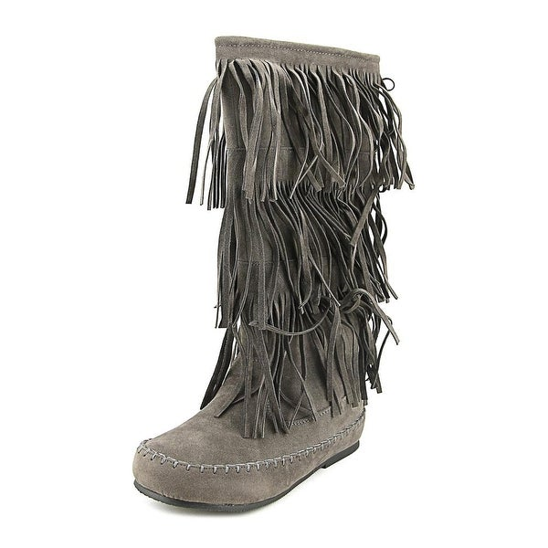 Pierre Dumas Apache-4 Women Round Toe Suede Gray Knee High Boot