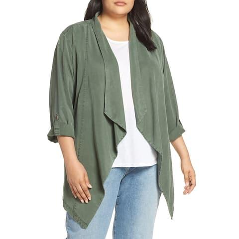Sanctuary Womens Jacket Green Size 2X Plus Belted Waterfall Flyaway