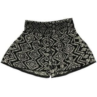 Aqua Womens Printed Smocked Casual Shorts - M