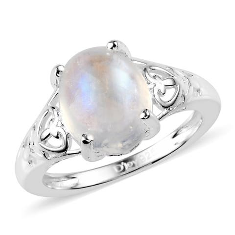 Shop LC 925 Sterling Silver Rainbow Moonstone Solitaire Ring
