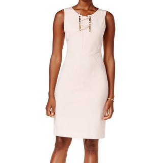 Ivanka Trump NEW Pink Women's Size 14 Sheath Lace-Up Hardware Dress