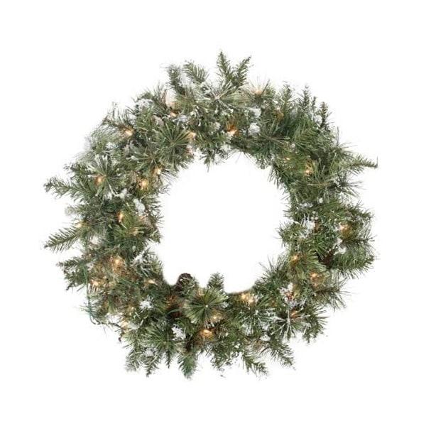 "24"" Pre-lit Snow Mountain Pine Artificial Christmas Wreath - Clear Lights - green"