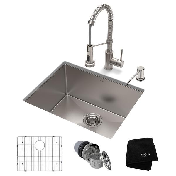 Kraus 3-in-1 Set Undermount Kitchen Sink, Pulldown Faucet, Dispenser. Opens flyout.