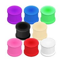 Vibrant Color Silicone Ultra Flexible Double Flat Flared Plug (Sold Individually)