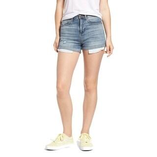 Black Label Blue Womens Size Large L Distressed Cuffed Denim Shorts