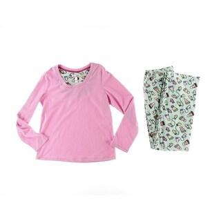 St. Eve Womens Micro Fleece Printed Pajama Set - XL