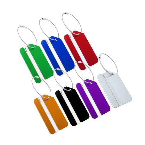 7 Pack Aluminium Metal Travel Luggage Tags Card Holder - Multi