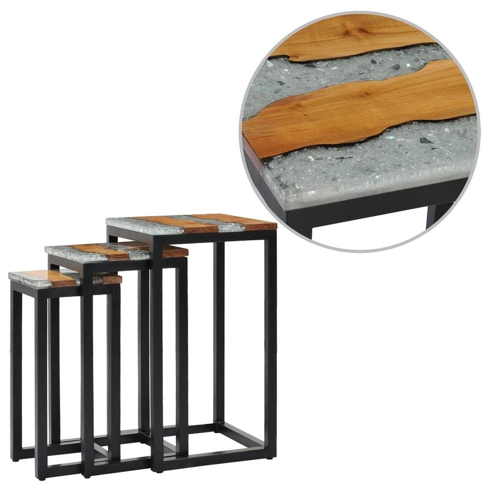 vidaXL  Nesting Tables 3 pcs Solid Teak Wood and Polyresin