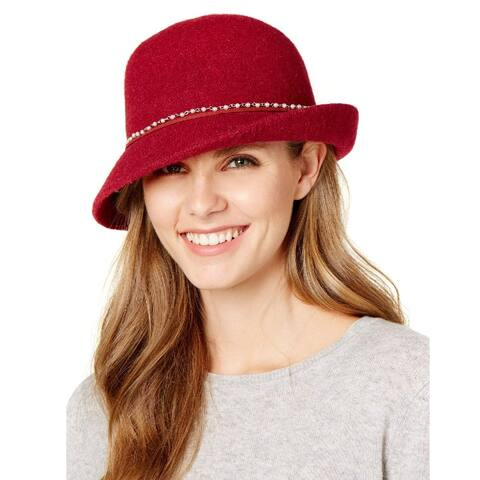 INC International Concepts Women's Packable Imitation Pearl Cloche Hat Red - One Size Fits Most