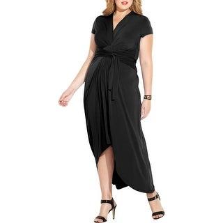MICHAEL Michael Kors Womens Plus Maxi Dress Faux-Wrap Jersey