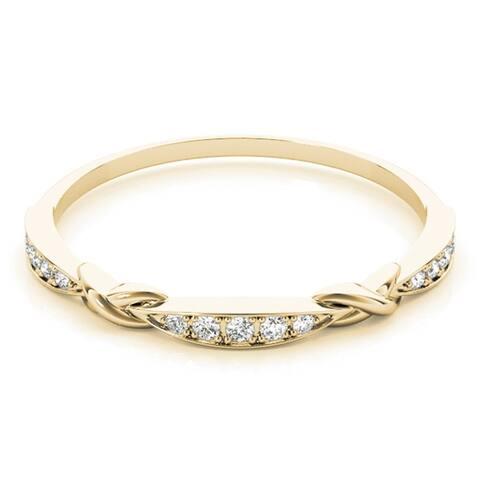 Lucid Styles 14K Gold 0.07 CT Petite Milgrain Diamond Stackable Wedding Ring