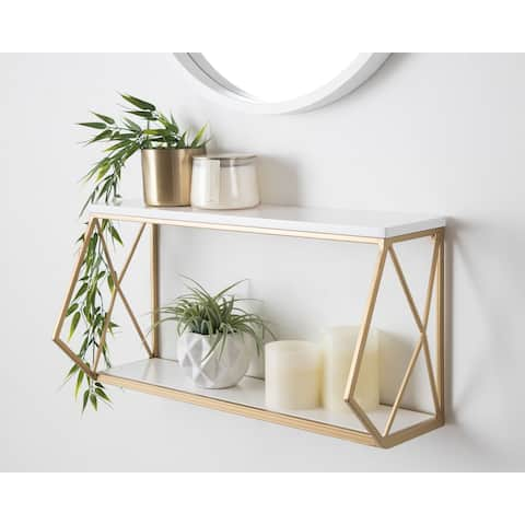 Kate and Laurel Brost Wood and Metal Wall Shelf - 22x8x10.25