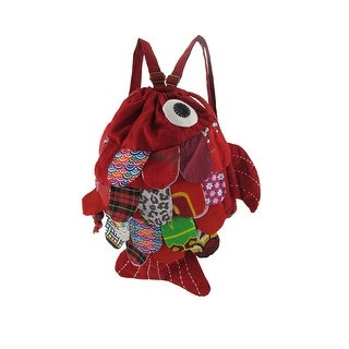 Cotton Collage Fish Drawstring Backpack Purse