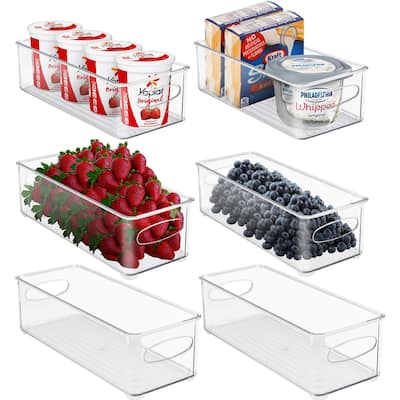 Plastic Storage Bins Stackable Clear Pantry Organizer Box Containers