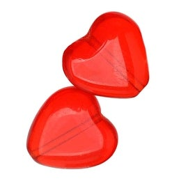 Czech Pressed Glass - Heart Shaped Beads 10x9.5mm Light Siam Ruby (25)